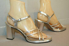 7.5 N Vtg 70s FANFARES SILVER METALLIC CLEAR STRAPPY CHUNKY HEEL DISCO Shoe