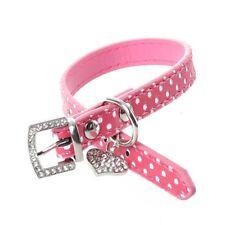 Rosa PU-Leder-Hunde/ Katze-Haustier-Hals Sicherheits-Halsband XS W6G7