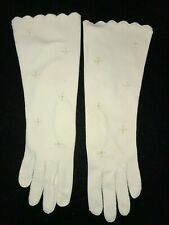 womens Vintage long white Gloves Fancy embroidery 12.5 inch long Scalloped Edge