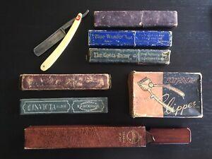 Vintage Antique Straight Cut Throat Razors + Strop