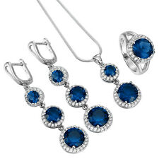 925 Silver Sterling Gemstone Rhinestone Rings Necklace Wedding Party Jewelry Set