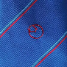 Silk mix company tie Red arrow circle logo emblem Corporate Vintage 1970s 1980s