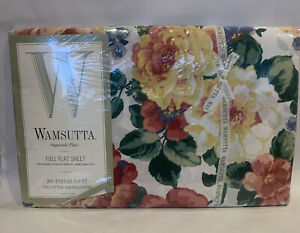 Wamsutta Clarissa Floral Super Percale flat Full Sheet New Sealed. Chintz