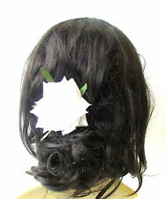 Large White Rose Flower Hair Clip 1950s Bridesmaid Accessory Bridal Big 40s 1488