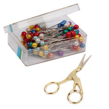 80Pcs Colorful Pearl Head Dressmaking Sewing Pins + 1Pc Vintage Sissor Craft