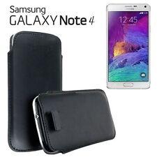 2x Pellicole + Custodia Pull Tab SACCHETTO per Samsung Galaxy Note 4 N910 Nero