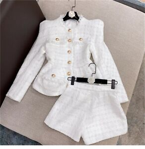 2021 Women Designer Inspired Tweed Blazer + Shorts Suit 2 Colors