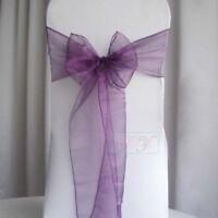 25x Purple Organza Chair Sashes Bow Ties Ribbon Wedding Banquet Party Decoration