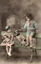 BL288 Carte Photo vintage card RPPC Enfant fantaisie poupée doll chien dog