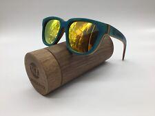 Woodenz Artesanal Azul Skate Marco De Madera Dorado Espejo TAC Gafas de sol polarizadas