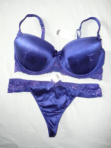 POUR MOI? Luxury SILK Padded Bra 32DD & Thong Size 8 BNWTS