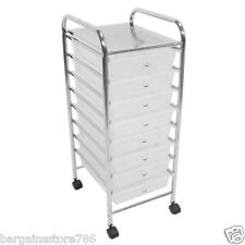 8 Drawers White beauty salon hairdressing kitchen bathroom storage trolley unit