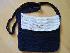Häckeltasche Umhängetasche Damentasche Handarbeit Tasche marine-weiß