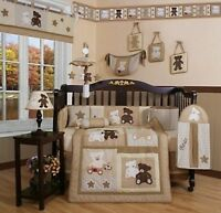 Crib Bedding Set Teddy Bear Baby Boys Girls Infant Brown 13 Piece Quilt Toddler