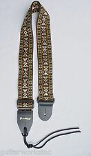 Guitar Strap For Acoustic & Electric Golden Woven Nylon Leather Ends Made In USA