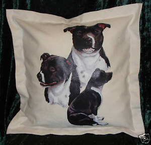 Hand Crafted Black & White Staffies dogs cushion cover