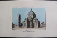 FLORENCE Cathédrale Grande & Fine aquarelle originale 1900 signée E. GEOFFROY