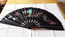 13 inches silk dragon kungfu fan black US seller fast shipping