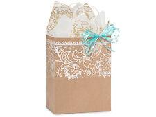 100 Brown Kraft paper shopping bags Lace Print quality wholesale bulk 8x4x10 Cub