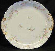Antique Theodore Haviland Limoges Pink Purple Rose Cake Tray Platter Gold 339 B