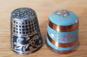 2 LOVELY THIMBLES - 1 COPPER/ENAMEL & 1 WHITE METAL ETCHED