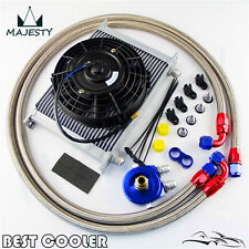 "Universal 10AN 28 Row Engine Oil Cooler Kit + 7"" Electric Fan Kit Silver"