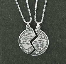 "Mizpah Coin Pendant Necklace Sterling Silver 18"" Box Chain 2 Piece Set"