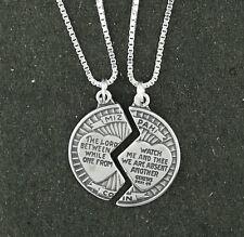 """Mizpah Coin Pendant Necklace Sterling Silver 18"""" Box Chain 2 Piece Set"""