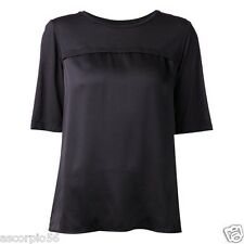 VINCE. Short Sleeve Silk Cashmere Combo Crew Tee Color: Navy Ex-Small V231611044