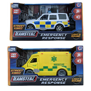Teamsterz Toy Ambulance OR Police Car Vehicle With Lights & Sound NEW BOXED