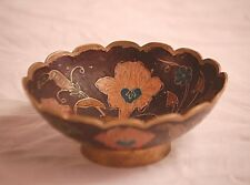 Old Vintage Cloisonne Enamel Brass Pedestal Base Bowl w Painted Floral Pattern