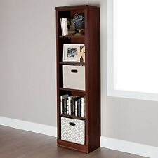 South Shore 10147 Morgan 5-Shelf Narrow Bookcase Royal Cherry NEW
