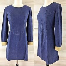 Vintage 60s denim mini dress long sleeve go go mod raffia cuffs S M