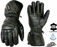 MENS WATERPROOF THERMAL LONG PADDED MOTORBIKE / MOTORCYCLE WINTER LEATHER GLOVES