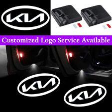 2x White New Kia Logo Car Door Wireless LED Light for Stinger Forte Optima Rio