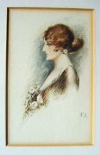 SMALL PORTRAITS ART DECO LADY FACING LEFT POSTCARD SIZE  F SYKES W/COL C1925