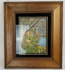 Vintage Print Ryan Creations 12x14 Frame Gold Foil Rustic Cottage Cabin on Lake
