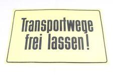 Targa di Avviso Plastica Scudo Transportwege Gratuito Lasciate Giallo