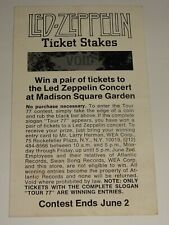 LED ZEPPELIN 1977 MSG NY Concert Contest Ticket Scratch Off Promo Card