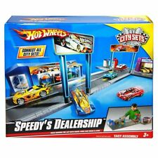 Hot Wheels Speedy's Dealership City Sets Vehicle Playset~ Race, Wash & Park~ NEW