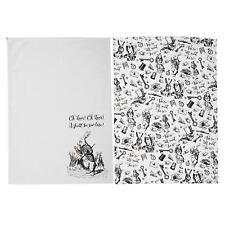 Alice In Wonderland Set 2 Tea Towels 100% Cotton Kitchen Cloths 70 x 50cm