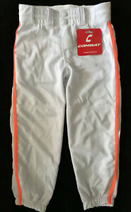 NEW COMBAT FASTPITCH SOFTBALL PANTS 3/4 Length White/Neon Orange ALL ADULT SIZES