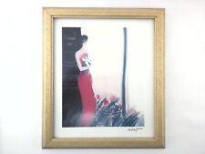EMILE BELLET Seriolithograph Pleine Floraison Woman Red Dress Framed Print COA *