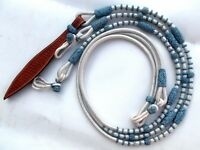 New White Synthetic Romal Reins Nylon Covered By Blue Natural Rawhide Tack SRR3
