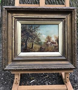British School Pastoral Country Rural Cottage Scene Quality Oil Painting -C 1880