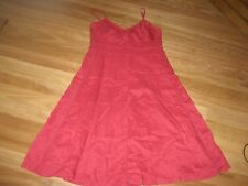 LADIES CUTE RED LINED SLEEVELESS LINEN SUMMER DRESS BY SUSSAN - SIZE 16 CHEAP