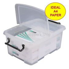 Pack Of 5 Clear Plastic Storage Boxes Box & Lid 12 Litre Ideal Size For A4 Paper