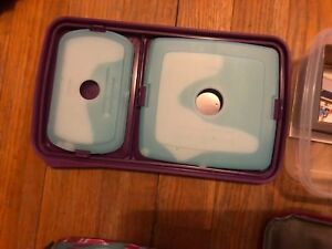 Bento lunch box with 3 containers and pink and blue color with ICE PACKs