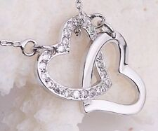 Womens Fashion Jewelry 925 Silver Double Heart Pendant Necklace USA SELLER 7-7