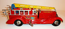 MARX Pressed Steel Wind-up 1940s FIRE LADDER TRUCK with FIREMAN ~ 14.25-inch
